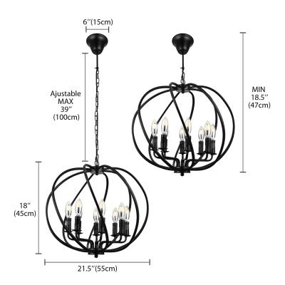 Wrought Iron 8 Light Large Globe Shade