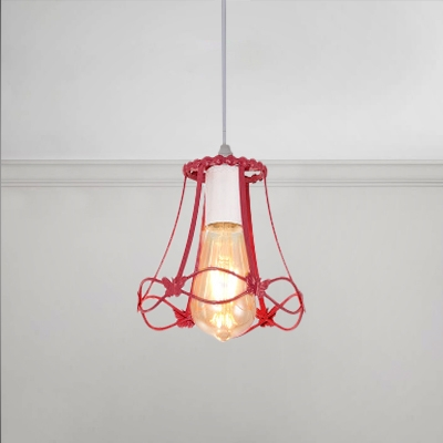 Metal Frame Hanging Light Industrial Colorful Single Head Drop Light with Butterfly Decoration, HL490876, Blue;green;red;yellow