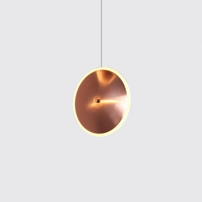 Rose Copper Round Hanging Light Post Modern Style Metal and Acrylic LED Drop Light in Warm/White Light