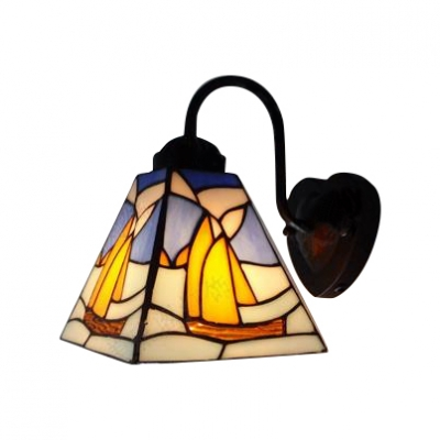 Sailboat Pattern Wall Sconce Nautical Tiffany Style Stained Glass Wall Light in Multicolor
