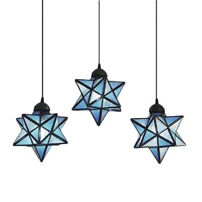 Star Ceiling Pendant Light Tiffany Modern Blue Glass Triple Hanging Lamp for Children Room