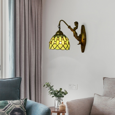 Tiffany Loft Beige/Blue/Green/Purple Dome Pattern Glass Shade Wall Sconce with Mermaid Lamp Backplate
