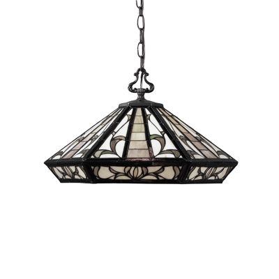 1 Light Diamond Hanging Light Mission Craftsman Stained Glass Suspended Lamp in Multi Color