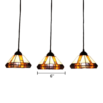 3 Heads Diamond Suspended Lamp Craftsman Stained Glass Decorative Hanging Light in Multicolor