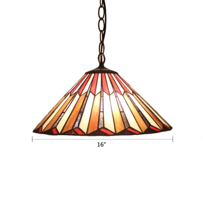 Adjustable 2 Bulbs Cone Suspension Lamp Vintage Stained Glass Drop Light in Multi Color