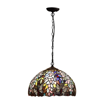 Butterfly Drop Ceiling Lighting Tiffany Style Stained Glass Single Light Hanging Light