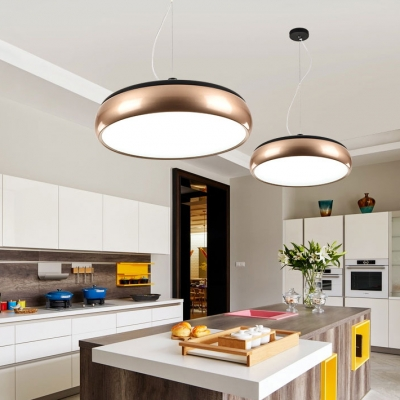 Champagne Gold Round Pendant Lamp Post Modern Style Metal LED Hanging
