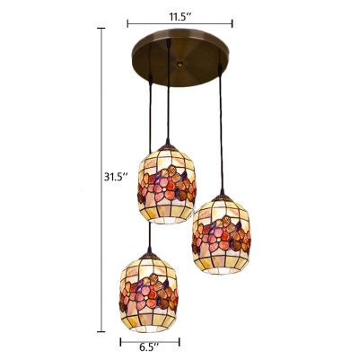 Cylinder Suspended Light Tiffany Style Shelly Triple Head Pendant Lamp for Corridor