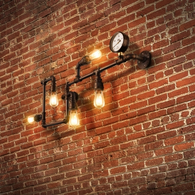 Industrial Pipe 5 Light Wall Light in Wrought Iron 35