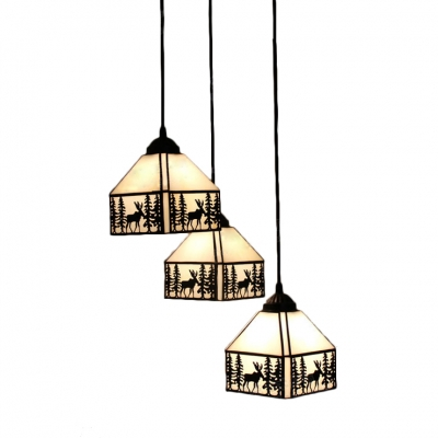 Lodge Tiffany Elk Drop Light Beige Glass 3 Heads Suspended Lamp in Bronze Finish for Bedroom