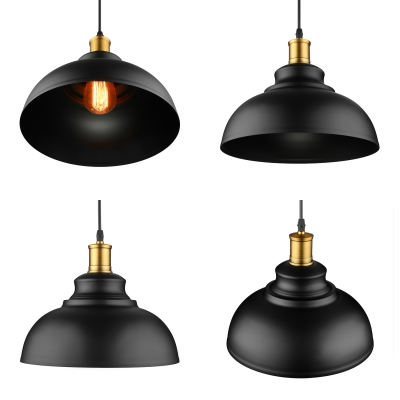 Matte Black Dome Single Pendant Light in Retro Loft Style for Kitchen Island Farmhouse Restaurant