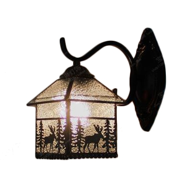 Rippled Glass Lantern Wall Lamp Lodge Tiffany Style Decorative Wall Sconce for Bedside Hallway