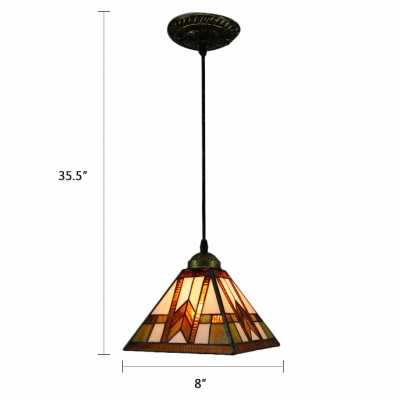Stained Glass Geometric Hanging Light Tiffany Style Mission Suspended Light in Multi Color