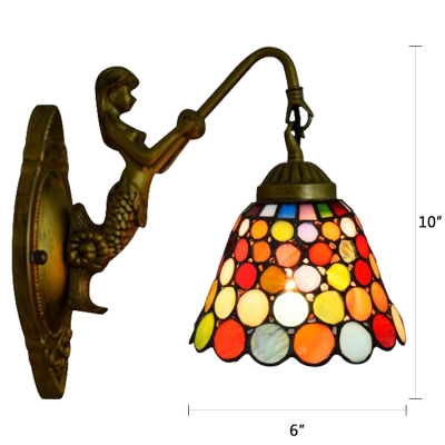 Tiffany Style Colorful Circle Glass Shade Wall Sconce for Bar Restaurant Bedroom