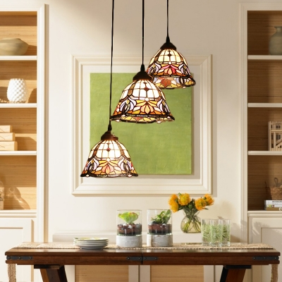 Triple Heads Floral Lighting Fixture Tiffany Retro Style Stained Glass Pendant Light in Multicolor