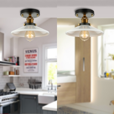 8 Wide Small Led Semi Flush Ceiling Light With White