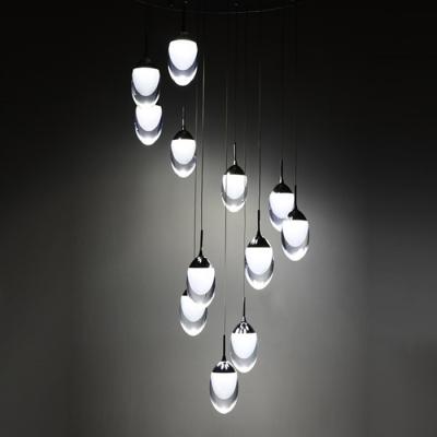 Acrylic Oval Drop Light Modern Style Chrome Finish LED Mini Pendant for Dining Room
