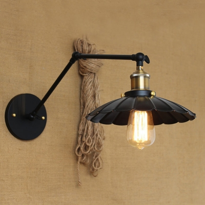 Antique Brass Scalloped Lighting Fixture Industrial Adjustable Steel Single Light Wall Light