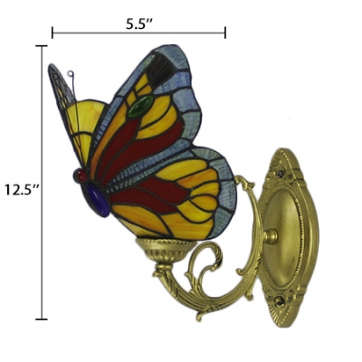 Butterfly Accent Wall Lamp Tiffany Style Wall Sconce Stained Glass in Blue/Red for Children Room