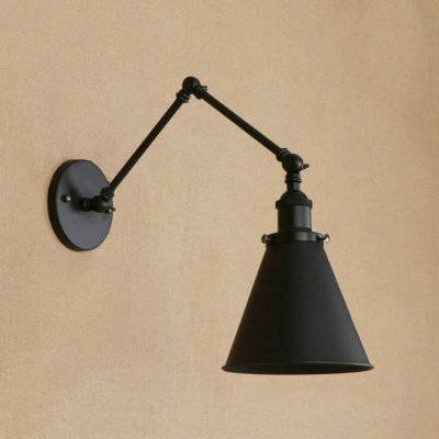 Concise Modern Swing Arm Wall Sconce Iron 1 Head Wall Mount Light for Bedroom Bedside