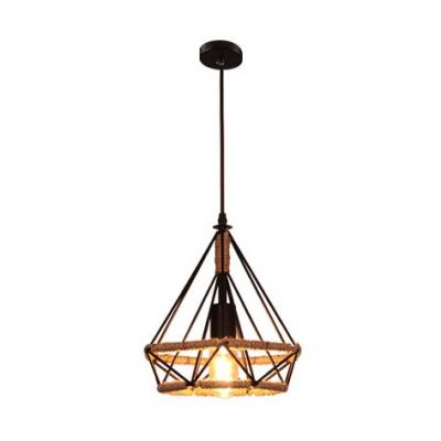 Diamond Shade Pendant Lamp Loft Style Rope Art Deco 1 Bulb Hanging Lamp for Hallway Foyer