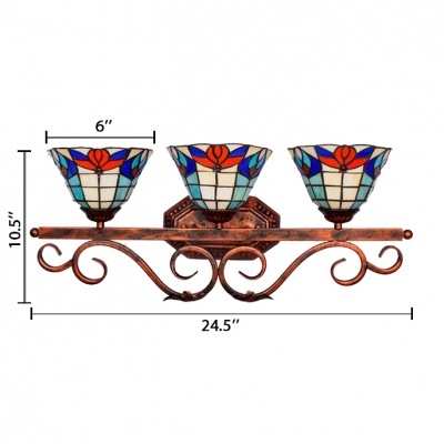 Dome Design Tiffany-Style Flower Pattern 24.5