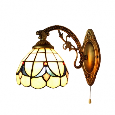 Dome Wall Sconce Tiffany Style Stained Glass Wall Light in Beige for Staircase Kitchen