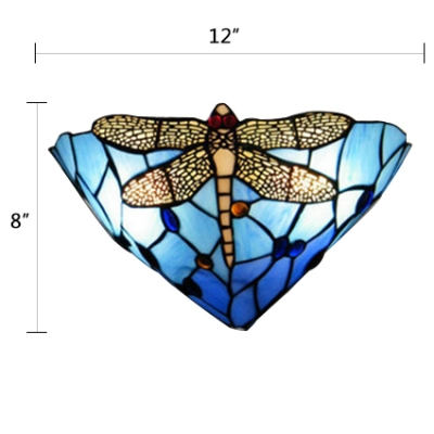 Gorgeous Dragonfly Orange/Blue Stained Glass Shade Hallway Two Light Wall Sconce, 12