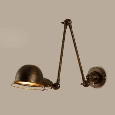 Loft Style Dome Sconce Light Adjustable Iron 1 Bulb Wall Lamp in Rust Finish for Corridor, HL496426