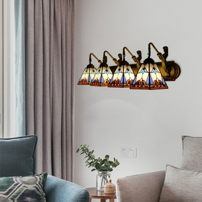 Multicolored Pyramid Wall Lighting Tiffany Style Stained Glass 4 Lights Wall Sconce
