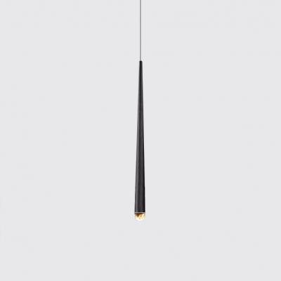 Slim LED Drop Light Post Modern Metal Single Head LED Hanging Pendant Lights in Antique Brass/Black