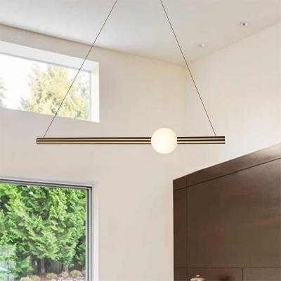Slim Tube LED Hanging Lights Ultra Modern Aluminum and Glass 1-LED Pendant Lighting Cold White Light