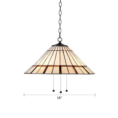 Tiffany Style Cone Suspended Light Stained Glass Decorative Pendant Light in Beige