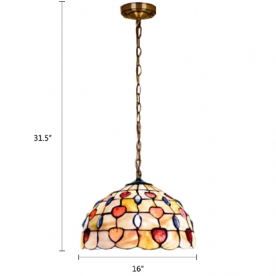 Tiffany Style Shelly Pendant Lamp Stained Glass 1/2/3 Light Hanging Light in Multi Color