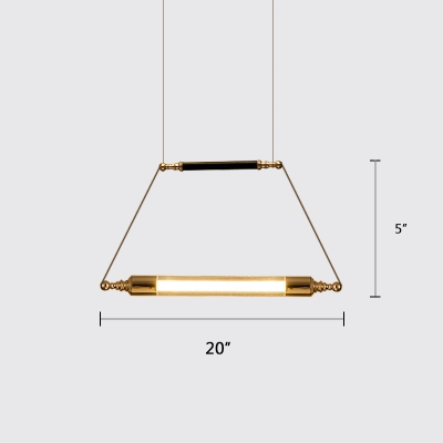 Tube LED Pendant Lighting Post Modern Glass 1-LED Drop Light in Gold Finish for Bar Cafe Restaurant