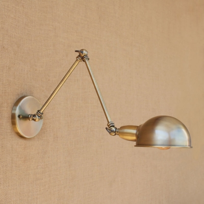Vintage Dome Wall Mount Fixture Iron 1 Light Wall Lighting in Bronze for Living Room