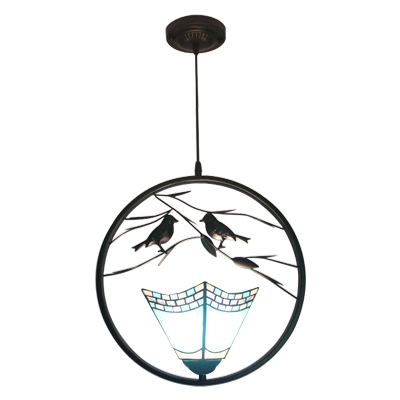 1 Light Geometric Hanging Light with 2 Birds Nautical Stained Glass Suspended Lamp in Blue