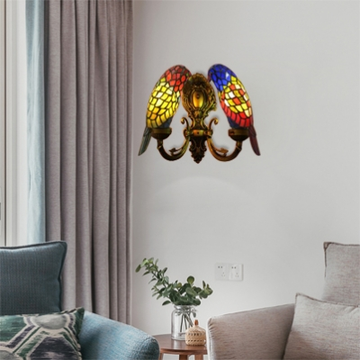 2 Light Parrot Wall Sconce Tiffany Style Handcrafted Stained Glass Wall Lamp in Multicolor