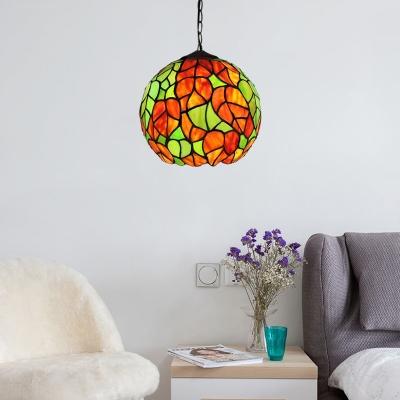 Rose/Leaf Design Pendant Lamp Vintage Stained Glass Single Light Hanging Lamp in Multi Color