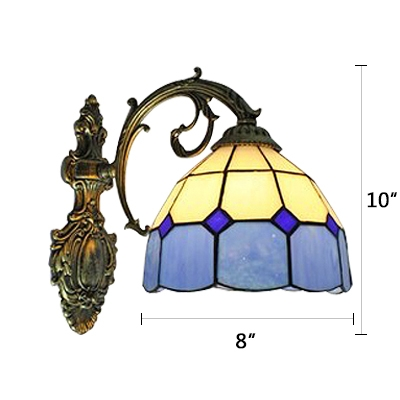 8 Inch Wide Downward Lighting Wall Sconce with Stained Glass Dome Shade in Blue