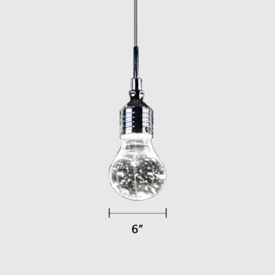 Bubble Glass Bulb Hanging Light Simple Style Clear LED Pendant Lamp for Bar Cafe