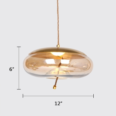 Cognac Shade One-Light Ceiling Pendant Light Gold Finish Nordic Style Hanging Light Fixture for Cafe Dining Room