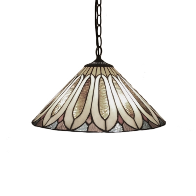 Conical Pendant Light Tiffany Style Stained Glass 2 Bulbs Art Deco Suspended Lamp