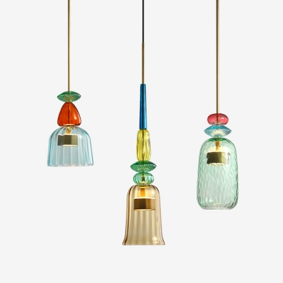Dome Cylinder Bell Shaped Hanging Light Nordic Style Glass Shade Led
