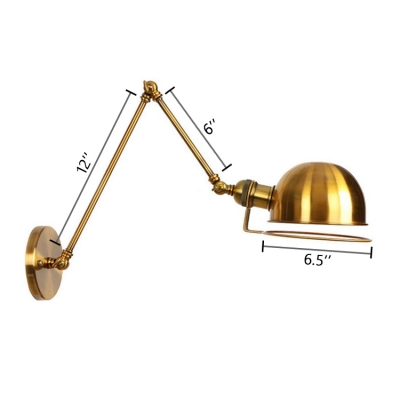 Dome Wall Light Fixture Retro Loft Style Steel 1 Bulb Wall Lamp in Brass with Swing Arm