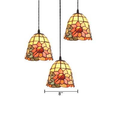 Multicolor Sunflower Design Hanging Lamp Tiffany Style Stained Glass Triple Pendant Light