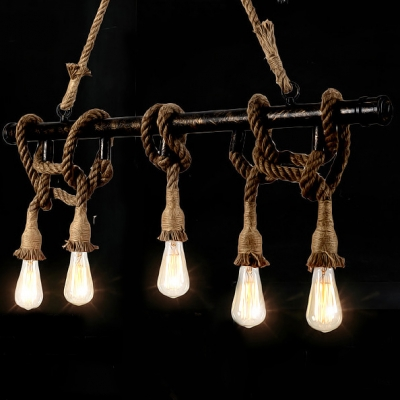 Oil Rubbed Bronze Linear Chandelier with Hemp Rope Decoration Industrial 5 Light Pendant Lighting
