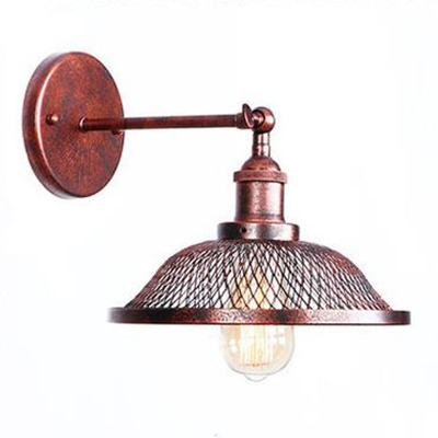 Rust Finish Scalloped Wall Light Retro Style Steel 1 Bulb Lighting Fixture for Coffee Shop HL496007 фото