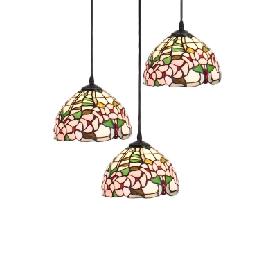 Stained Glass Floral Drop Light Tiffany Traditional 3 Lights Suspended Lamp in Multi Color