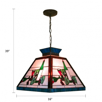 Tiffany Style Lodge Trapezoid Drop Light Stained Glass Suspended Light in Multicolor for Bar